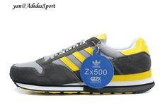best cheap 681c0 b4e60 Adidas Originals ZX 500 Trainers Men Carbon   Light Grey   Yellow   White  HOT SALE