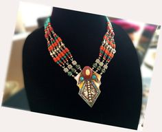 Nepal NecklaceVintageEnamel Jewelrycoral by taneesijewelry on Etsy, $285.00