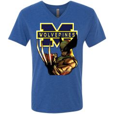 Michigan Wolverines III Custom Designed Men's Next Level Triblend V-Neck Tee