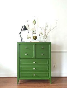 Emerald green mid century modern dresser with brass pulls. High Gloss Green