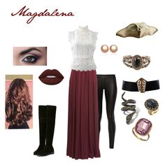 """""""Magdalena"""" by torib795 ❤ liked on Polyvore featuring The Row, St. John, Oscar de la Renta, Lime Crime, Chanel, Alexis Bittar, Alexander McQueen, Seraphina and Amour de Pearl"""