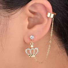 Conch and Helix Fake Piercing Set of Two - Tragus Orbital Cartilage Faux Hoops - Custom Jewelry Ideas Gold Bar Earrings, Cuff Earrings, Circle Earrings, Crystal Earrings, Full Ear Earrings, Statement Earrings, Ear Cuffs, Ear Jewelry, Jewelry Accessories