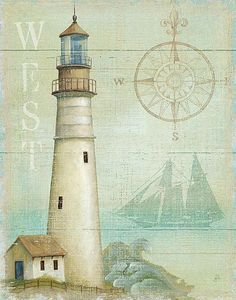 #Lighthouse #West #Ocean #Nautical #Compass