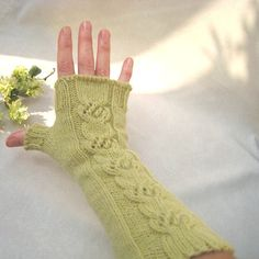 Cable Hand Knit Fingerless Gloves Fingerless Mittens by dimana, $35.00