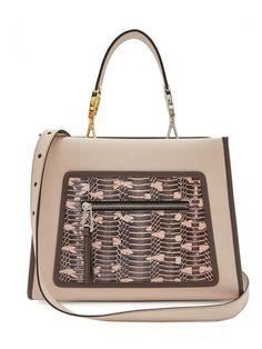 8f8cfc14a51b FENDI Runaway Small Vitello Century Leather Snake Skin Satchel Handbag  8BH344