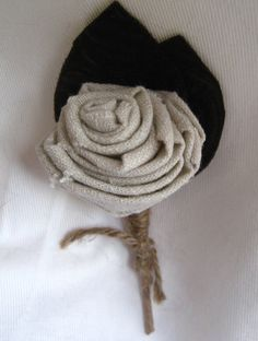 Rustic Fabric Flower Boutonniere Wedding by HappyBlooms on Etsy,