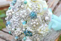 Tiffany blue heirloom jeweled posy  $150.00- The One!
