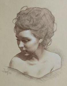 Scott Waddell, pencil, 2014 {contemporary figurative art beautiful female head woman face portrait drawing} scottwaddellfineart.com