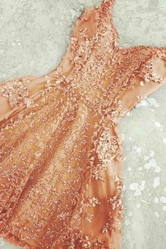 Appliqued champagne pink tulle prom dress, short prom dress, cute prom dresses for teens
