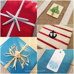 Coastal Gift Wrapping Ideas from OceanStyles.com.