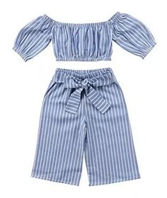 Greenafter Toddler Girl Stripe Off-Shouler Tube Top + Pant Set Outfit (Blue, Baby Outfits, Toddler Outfits, Kids Outfits, Cute Outfits, Toddler Girl Style, Toddler Fashion, Kids Fashion, Toddler Girls, Fall Fashion