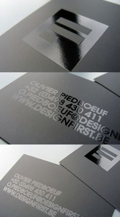 An all caps card, with glossy ink on matte paper. Minimalist and elegant. Created by Design First, an agency from Belgium