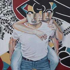"Manuel Martinez ""going home"" 100x100 acrylique"