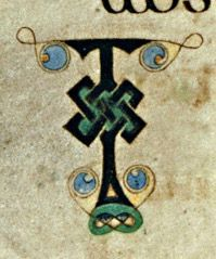 Columban monks, Book of Kells, circa 800 CE. Detail of folio 68v. Ink on vellum. (Trinity College Library, Dublin)