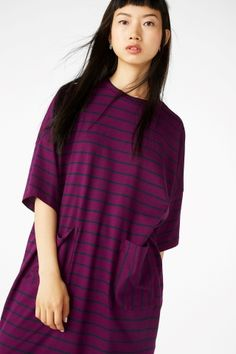 Monki Image 2 of Wide T-shirt dress in Purple Reddish Dark