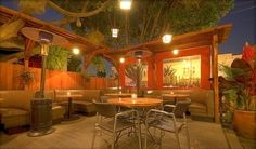 the elusive los angeles outdoor patio :: home restaurant in los feliz is a delicious american food treat on the hip hillhurst ave. there's a lovely koi pond and outside heaters for when it gets a bit chilly!
