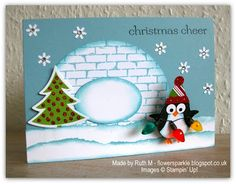 Flower Sparkle: Penguin On A Spring Christmas Card - Mostly SU! products used
