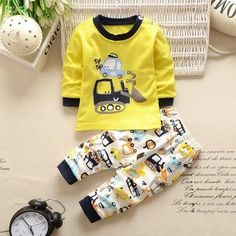 Newborn Outfits Boy Baby Boys Tracksuit Clothing Set Striped Cartoon Tops + Pants Baby Set Baby