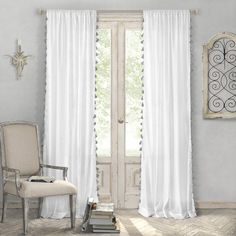 Elrene Home Fashions Bianca Sheer Window Curtain Panel with Tassels - 52 x 84 Tassel Curtains, Cotton Curtains, Window Curtains, Cotton Fabric, Sheer Drapes, Curtains Living, Bedroom Curtains, White And Gray Curtains, Wood Valance