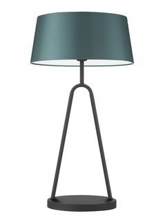 """In Black Iron with 14"""" French Drum shade in Teal Satin."""