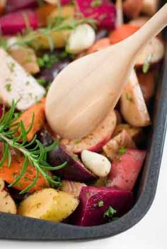 Roasted Root veggies. Onions, garlic, celery root, parsnips, potatoes, beets, yams, winter squash, turnips, daikon radishes.