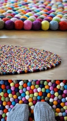 Easy DIY Crafts: A rug made from those little craft puff balls which you can buy these all at the R U Store!
