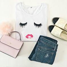 StylishPetite.com | Review: Lace Hem Sweater, Striped Peplum Top and Eyelash Tee