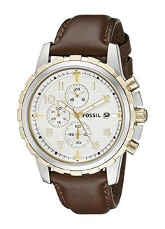 Fossil FS4788 Dean Chronograph Leather Watch - Brown *** You can find out more details at the link of the image.
