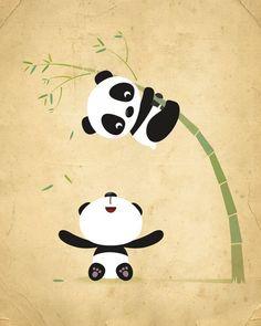 Guardería Panda grabada niños Ilustración por IreneGoughPrints