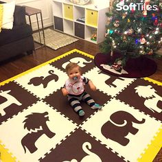 Create your own custom SoftTiles Safari Animals Play Mat to match your decor. This is children's play mat uses Safari Animals in Brown and White with Yellow sloping borders.