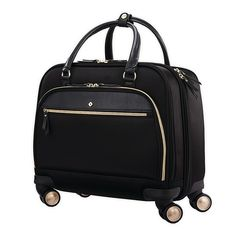 Its sleek, durable design makes the Mobile Solution Spinner Mobile Office from Samsonite perfect for travel or everyday use. Offers spinner wheels, a pull handle, multiple organizational possibilities with pockets, laptop sleeve and tablet pocket. Travel Items, Travel Luggage, Luggage Bags, Travel Bags, Vinyl Trim, Mobile Office, Spinner Suitcase, Convertible Backpack, One Bag