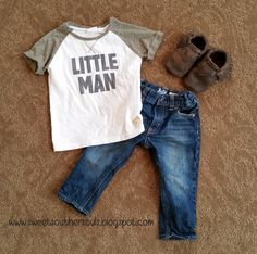 Cute toddler boy style, t-shirt, jeans, and moccasins