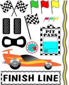 Race car clipart for E's birthday   --   Could use some of these for toppers on cupcakes.