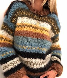 My fall sweater pattern by Siv Kristin Olsen 20 sweater knitting patterns. This is a pattern roundup with a range of designs for all skill levels. This is an easy knit sweater, where you may use the colours that you like. Love Knitting, Knitting Kits, Knitting Sweaters, Knitting Tutorials, Fall Knitting, Beginner Knitting, Knitting Machine, Vintage Knitting, Baggy Sweaters