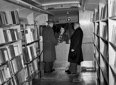 Llibrary bus interior. Sweden, 1953.,