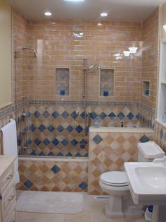 building a roman tub. A large corner tub surrounded by beautiful random match tile on the floor  and walls Bathroom Remodel Pinterest Beautiful Popular Colors