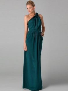 2013 Style Sheath _ Column One Shoulder Hand-Made Flower Sleeveless Floor-length Chiffon Dark Green Prom Dress _ Evening Dress. br_Product Name2013 Style Sheath _ Column One Shoulder Hand-Made Flower Sleeveless Floor-length Chiffon Dark Green Prom Dress _ Evening Dressbr_br_Weight2kgbr_br_ Start From1 Unitbr_br_ Hemline _ TrainFloor-.. . See More One Shoulder at http://www.ourgreatshop.com/One-Shoulder-C935.aspx