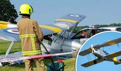 Dramatic pictures taken by fire crews at the scene show the single propellor plane nose down into the grass, with its wings damaged and laying across the front of a crumpled car.