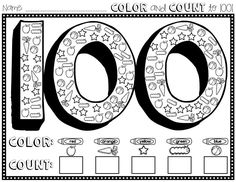 Color and Count to 100 freebie