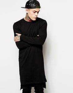 ASOS Extreme Longline Long Sleeve T-Shirt With Stepped Hem