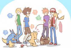 Digimon, Pokemon, Ishida Yamato, Yagami Taichi, Green, Red,