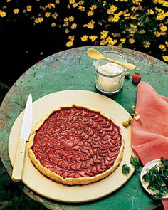 Basil is an ingredient my whole family loves, and we like to use it in unusal ways. Strawberry Galette with Basil whipped cream - Martha Stewart Recipes