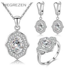 MEGREZEN Wedding Jewelry Crystal Drop Earrings Necklaces Rings Rhinestone Costume Jewelry Conjunto De Joias Para Mulheres YS006 #Affiliate