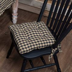 Kitchen Chair Cushions Black And White.Chair Cushions With Rounded Back And Ties Buffalo Check .