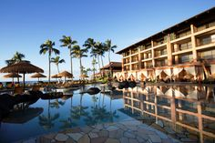 Sheraton Kauai's Ocean Pool is located just steps from the beach and is lined with eight private poolside bungalows.