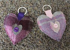 Keyring Lavender Heart  Hand Sewn in Lilac or by DaisyBelleShop