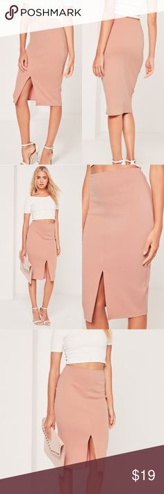 Scuba Split Front Midi Blush Nude Pencil Skirt nude is in every season's colour palette. be a babe in basics in this midi skirt with figure-structuring scuba fabric and a classy front split. instant babe status!  Size US 6 UK 10 regular / stretch fit - elasticated waistband   95% polyester 5% elastane Missguided Skirts Midi