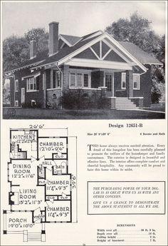 vintage Craftsman bungalow Plans | Craftsman-style Bungalow - House Plans - Vintage Residential ...