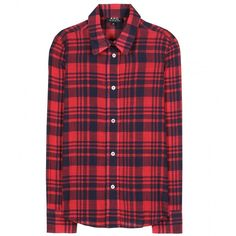 A.P.C. Plaid Cotton Shirt ($215) ❤ liked on Polyvore featuring tops, blouses, shirts, flannels, rouge, button up shirts, plaid button down shirt, plaid button up shirts, shirt blouse and red plaid blouse