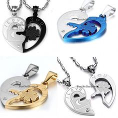 6ee00ee6a7 His And Hers Stainless Steel I Love You Matching Heart Pendant Couple  Necklaces #couplenecklaces Key